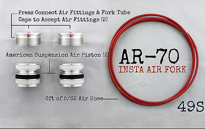 AR-­70/49-S Fork Tube Air Ride Kit 2014 and up Harley Davidson Baggers