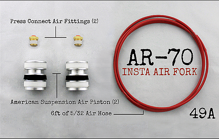 AR-­70/49A Fork Tube Air Ride Kit 2014 and up Harley Davidson Baggers