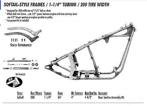 SOFTAIL STYLE FRAME 1.25 TUBING/ 200 REAR TIRE - Custom Harley ...