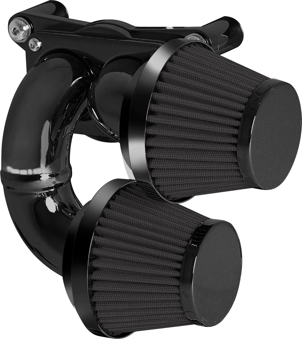 HARLEY MOTORCYCLE Dual Runner Super Squatty, Internal Breather Bracket, Black Finish, Black Filter