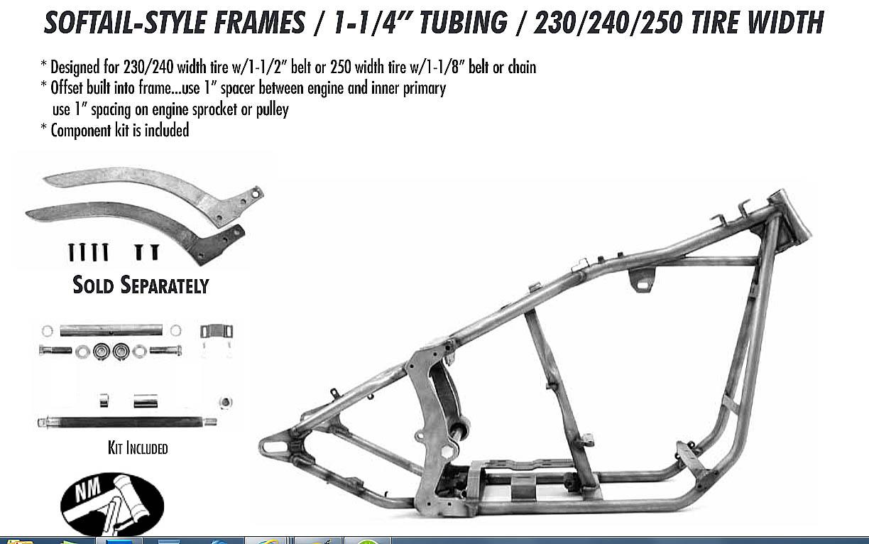 SOFTAIL HARLEY FRAME 230/240/250 REAR / 1.25 TUBING - Custom Harley ...