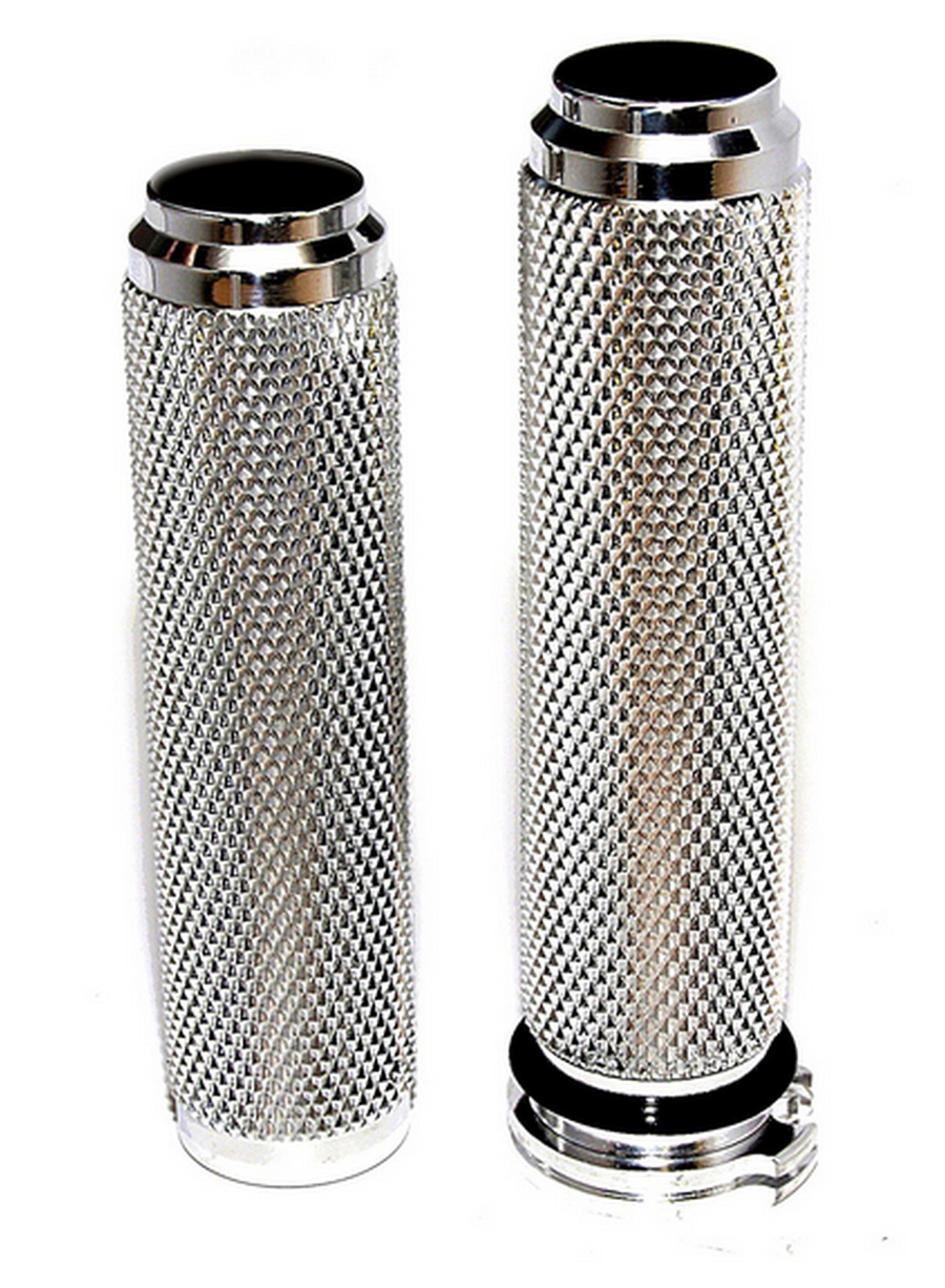HARLEY GRIPS CHROME DIAMOND KNURLED FOR BOBBERS, CHOPPERS, VINTAGE CLASSICS CABLE