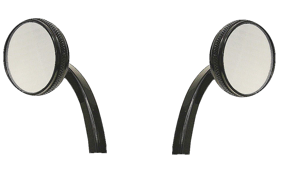 BLACK MOTORCYCLE MIRRORS FOR HARLEY , CUSTOMS, VINTAGE CLASSICS ONE PAIR BLACK