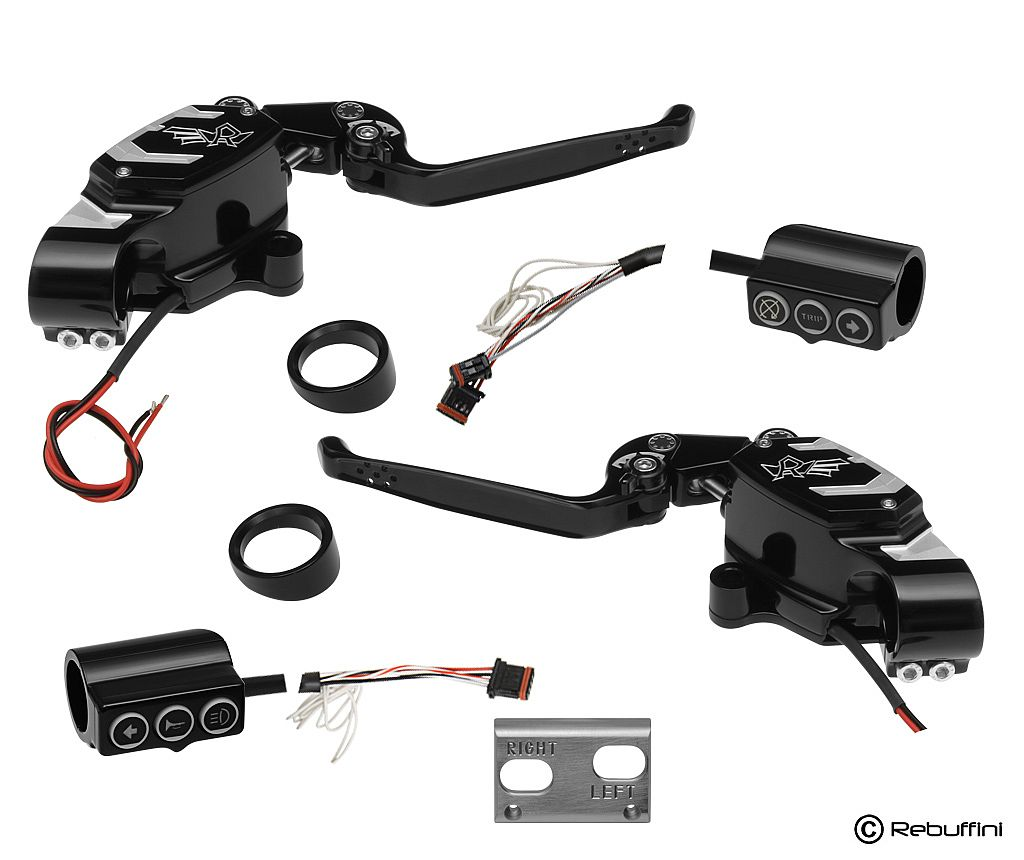 BLACK RADIAL HAND CONTROLS KIT WITH CABLE CLUTCH – CAN BUS SWITCHES – WITH IGNITION SWITCH FOR 2011-