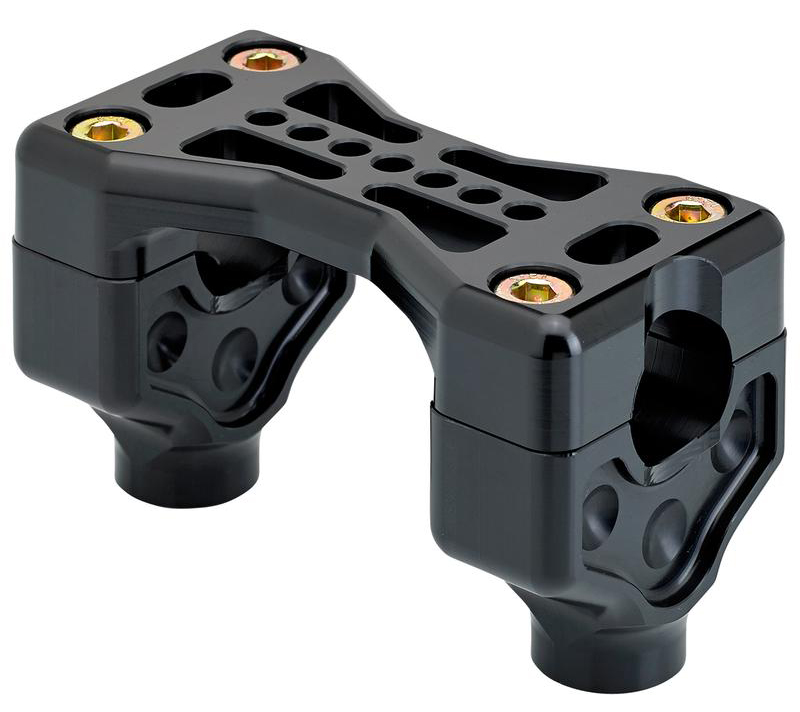 "BLACK  HARLEY RISERS 2"" Bridge Handlebar Clamps"