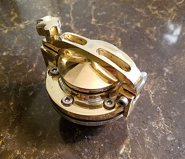 CUSTOM BRASS HINGED HAMMER ONE GASCAP FOR CUSTOMS, CAFE RACER OR BOBBER , THREADS INTO HARLEY & BIG