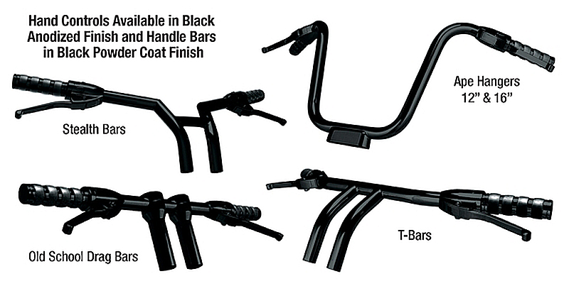 CUSTOM CYCLE CONTROLS SYSTEM WITH HANDLEBARS BLACK COMPLETE