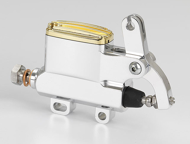 "KUSTOM TECH DELUXE WIRE OPERATOR MASTER CYLINDER 14mm (9/16"") BORE ALUMINUM AND BRASS (polish)"
