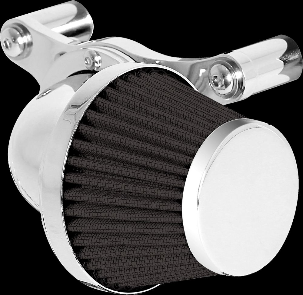 Motorcycle Harley Air Cleaner  90 Super Squatty, Internal Breather Bracket, Chrome Finish, Black Fi