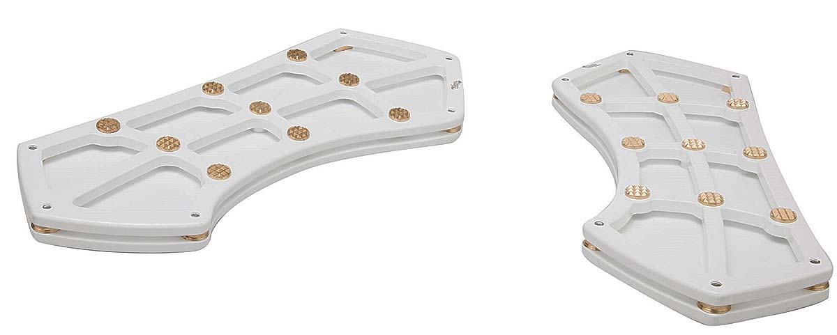 HARLEY DRIVER FLOOR BOARDS WHITE & BRASS