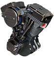ULTIMA 127 CI BLACK NICKEL PLATED CHROME BLACK GEM ENGINE MOTOR EVO HARLEY