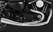HARLEY SPORTSTER CUSTOM EXHAUSTS 2 INTO 1 CHROME VANCE & HINES 2007 TO 2018
