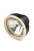 HARLEY CUSTOM HEADLIGHT 5.75 FACE BLACK W/ POLISHED BRASS BALL MILLED RING