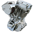 Ultima Polished El Bruto 100c.i Complete Engine for Harley Big Twin 1984-1999
