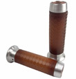 HARLEY CHOPPER MOTORCYCLE GRIPS Leather Moto Grips - Natural Aluminum/Tan Honeycomb