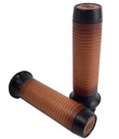 HARLEY CHOPPER MOTORCYCLE GRIPS Leather Moto Grips -Black Aluminum/Tan Ribbed